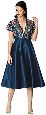 eShakti FX Plunge Floral Embroidery Dupioni Dress - Customizable Neckline, Sleeve & Length