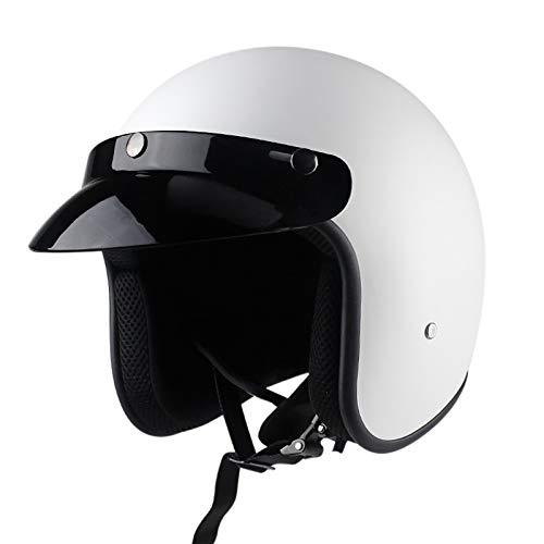 SJAPEX Retro Casco de Moto Abierto para Mujer Hombre,Cascos de Motocicleta Retro Medio Casco Cruiser Chopper Scooter Piloto Jet Casco 3/4 Adulto ECE Certificado Half Helmet C,XL=61~62cm