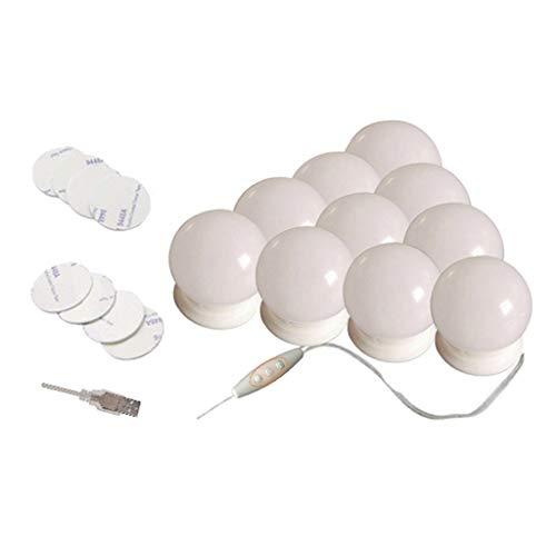 Milageto Bombilla LED Regulable de 3 Modos de Luz de Espejo de Vanidad de Maquillaje de Hollywood de 10 Piezas - Adhesivo, Individual