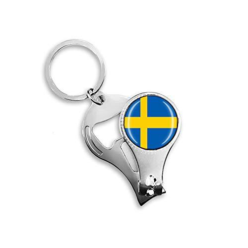 Nationalflagge Schweden Souvenir Geschenk Multifunktionaler Schlüsselanhänger Flaschenöffner Nagelknipser Rucksack Anhänger
