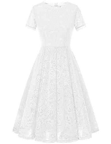 DRESSTELLS Damen Midi Elegant Hochzeit Spitzenkleid Kurzarm Rockabilly Kleid Cocktail Abendkleider White M