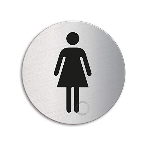 Schild - WC Damen | Toilettenschild Türschild aus Edelstahl Ø 75 mm selbstklebend | Original Ofform Design Nr.8472