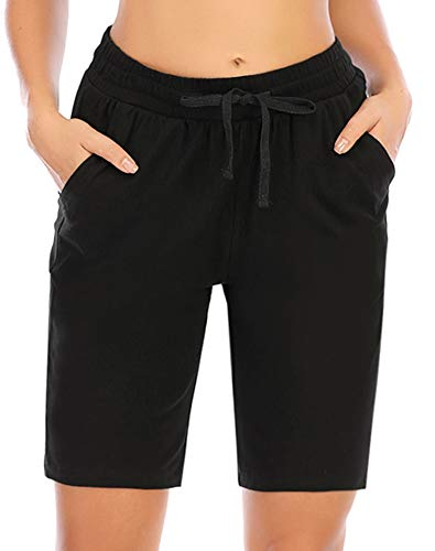 COOrun Pantalones cortos de deporte para mujer, bermudas, verano, para correr, con cordón, con bolsillos, Mujer, Negro , extra-large