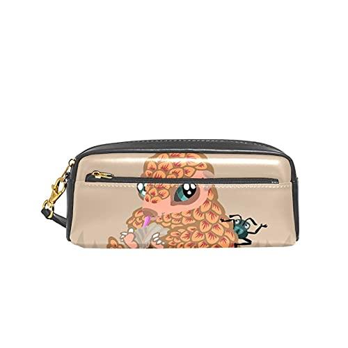Pangolin bebé con hormiga escuela pluma caso niños titulares de lápiz gran capacidad bolsa maquillaje cosméticos cajas oficina viaje bolsa