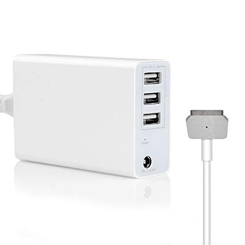 Tragbares 45W / 60W Ladegerät für MacBook Air 11 13 Zoll & Pro Retina 13 Zoll, Ersatz für Apple Magsafe 2 T-Tip-Netzteil Mac (2012,2013,2014,2015,2017) -3 Zusätzliche USB-Anschlüsse