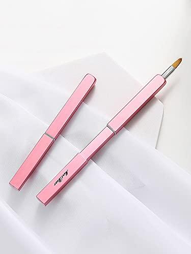 Mint Bear Pinceau à lèvres portable rétractable en fibre de rose