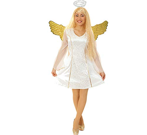 KarnevalsTeufel Kleid weißer Engel Gold Engelskleid Damen kurz Weihnachtsengel (38)