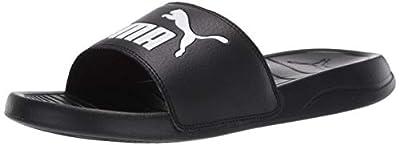 PUMA Popcat Slide Sandal, Black White, 12 M US