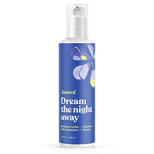 ASUTRA Melatonin Lotion w/Magnesium, 6.76 fl oz | Natural Sleep Cream Aid for a Restful Night | Reduce Stress & Calm Mind | Aromatherapy of Natural Sweet Almond & Lemongrass Oil, Shea Butter