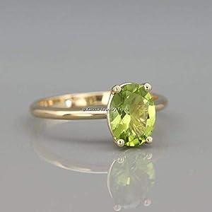 August Birthstone Ringe-Grüne Edelsteinringe-Ovaleschliff Peridot Ringe-925 Sterling Silber Ringe Für Damen-18 Karat…