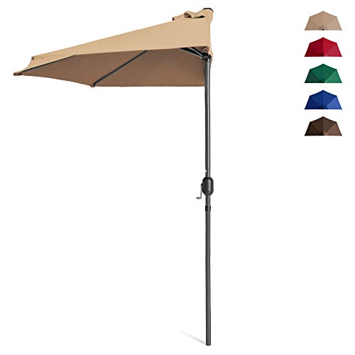 Best Choice Products 9ft Steel Half Patio Umbrella for Backyard, Deck, Garden w/ 5 Ribs, Crank Mechanism, UV- and Water-Resistant Fabric - Tan