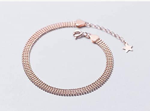 BEWITCHYU Pulsera de Plata S925, Pulsera de Estilo de Fideos de Cuentas Redondas de Cara Ancha Simple para Mujeroro y rosa, Plata 925