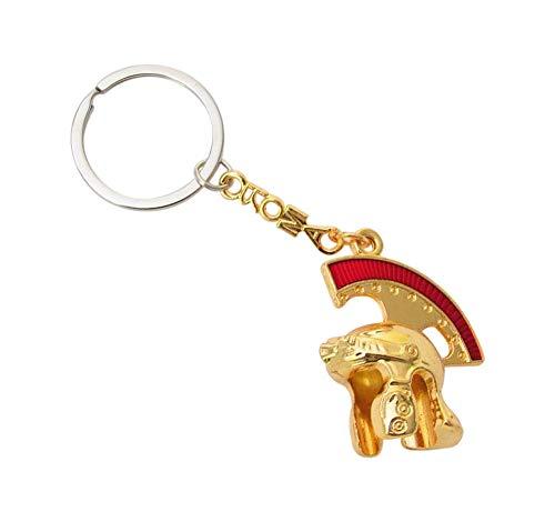 Llavero con joya de bolso casco romano Centurion dorada.