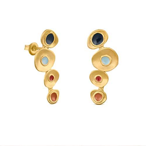 JOIDART – PENDIENTES DORADOS FAVORITA COLORS   Diseñado por Joidart   Colección Favorita Colors   Metal con baño de oro de 24 K