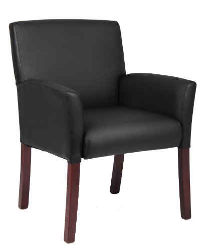 Boss Office Products Box Arm Guest Chair with Mahogany Finish in Black