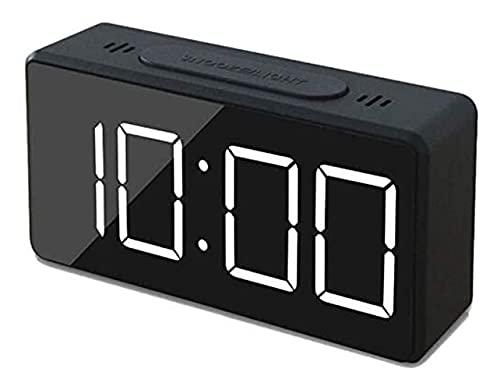 AGUOGUO Pequeño Reloj de Alarma Digital para Viajar con Pantalla de Tiempo o Temperatura LED, Snooze, Brillo Ajustable, operación Simple, 12 / 24hR, para el hogar, Oficina
