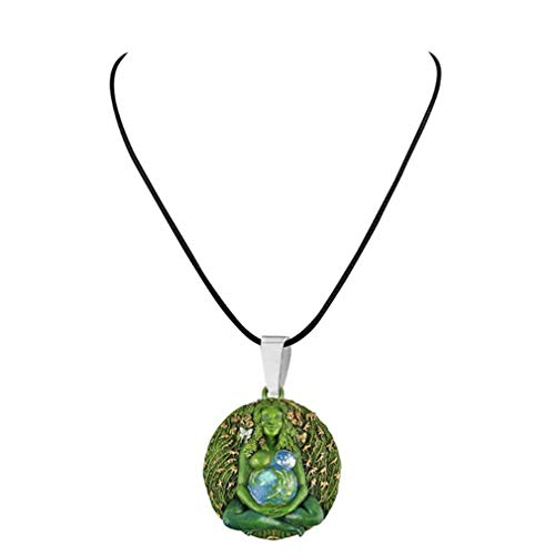 Haowen Madre Tierra Estatua Colgante Tierra Milenario Gaia Diosa Colgante Collar Cuerda Verde
