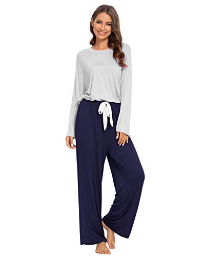 GOSO Damen Schlafanzug Pyjama Set-Schlafanzug Damen Pyjama Pjs Langarm Loose Pants Lady Jogging Style Nachtwäsche Soft Lounge Sets, 01 Grau, S
