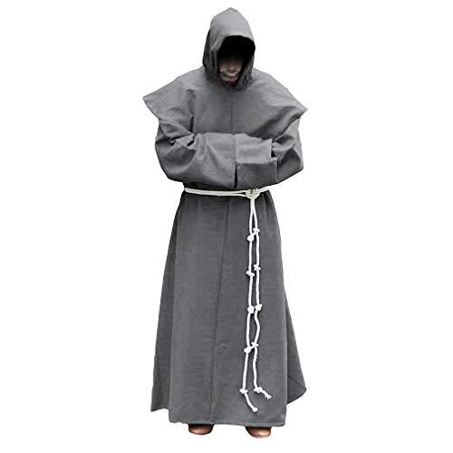Herren Robe mit Kapuze - Vintage Mittelalter Priester Mönch Kostüm Lange Ärmel Lose Umhang Mantel Halloween Cosplay Party Kostüm Groß Größe S-5XL