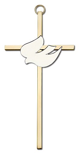 Catholic Gifts Holy Spirit Gold Dove Silver Plated 6 Inch Wall Cross