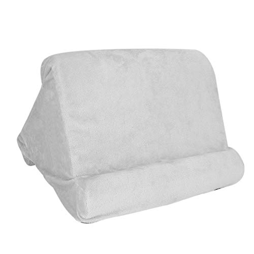 Tablet Pillow, 10.6 x 9.8 x 9.1 in High Elastic Sponge + Super Soft Fabric Mult-Angle Tablet Reading Pillow, Soft Pillow for E-Readers for Tablets(gray)