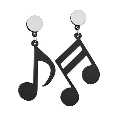 PRENKIN Nota Musical Muchachas de Las Mujeres asimétrica acrylicwomen Pendiente de acrílico Pendientes Placa de Metal Belleza Pendientes de la Manera Jewerly