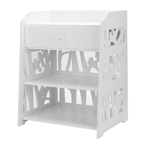 3 Tier Bedside Table Cabinet, Wooden Cabinet, Bedroom Storage Shelf, Wooden Shelving Display, Nightstands Small Home Cupboard, Coffee Table, with Drawer, White (Bird S, 1pcs)