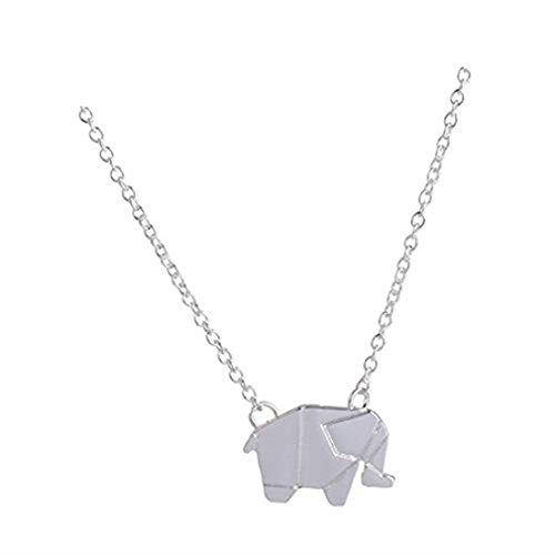 GYKMDF Collar de Elefante de Origami geométrico con Diseño de Elefante