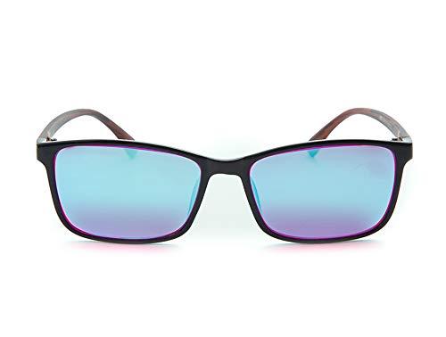 YXS OD-06 Colorblind-Brille für Männer, Color Blind Brille Color Blind Gläser für Rot/Grün-Blindheit - Mild, Genießen satte und lebendige Farben,Blau