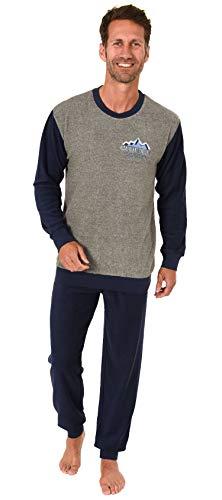Herren Frottee Pyjama Langarm Schlafanzug mit Bündchen - 291 101 13 573, Größe2:48, Farbe:anthrazit