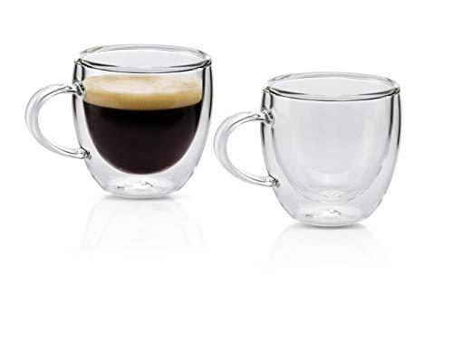 MONDAEN. Espressotassen 80ml | 2er Set doppelwandige Espressogläser aus hochwertigem Borosilikat-Glas | Moderne Espresso-Tasse Thermo-isoliert | Kaffeetasse mundgeblasen