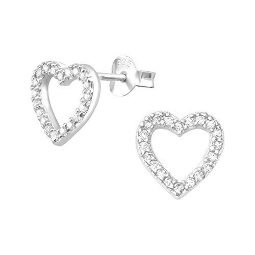 Laimons - Pendientes para mujer con corazón abierto y brillante y circonita blanca de 10 mm, plata de ley 925
