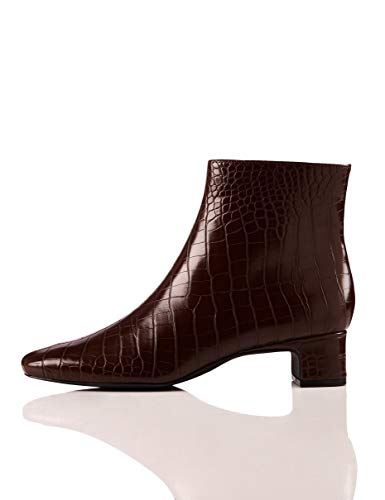 find. Block Heel Square Toe Stiefeletten, Braun Brown Croco), 40 EU