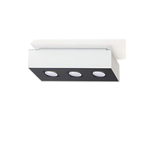 Plafonnier Mono 3-flammig Plafonnier Noir-Blanc 34x14cm Lampe de Salon Lampe Moderne Eclairage Intérieur + 3x 7W Ampoule LED