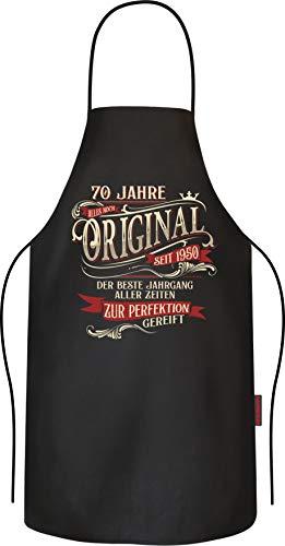 RAHMENLOS Grillschürze Kochschürze Küchenschürze als Geschenk zum 70. Geburtstag Baumwolle
