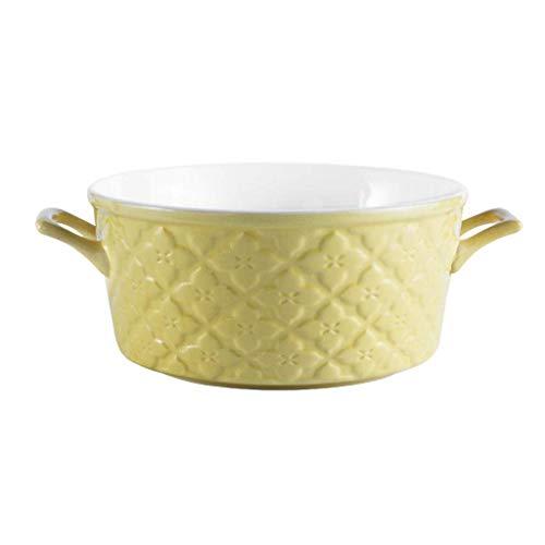 Saladiers Céramique Double Bowl Eared Ramen Bowl Restaurant Soup Bowl Haute capacité Salade de Nouilles Bowl Fruit Bowl ARTICL (Color : Yellow)