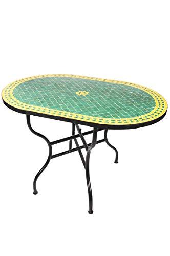 ORIGINAL Marokkanischer Mosaiktisch Gartentisch 120x80cm Groß eckig oval klappbar | Eckiger klappbarer Mosaik Esstisch Mediterran | als Klapptisch für Balkon oder Garten | Bilbao Grün Gelb 120x80cm