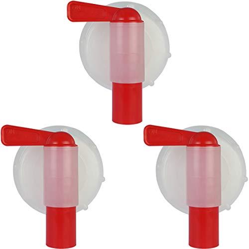 Grifo Dispensador para Garrafa, Bidón o Jerrican de 10, 15 y 25 L, DIN60-61. Diámetro exterior rosca 59-61 mm. (3 Unidades)
