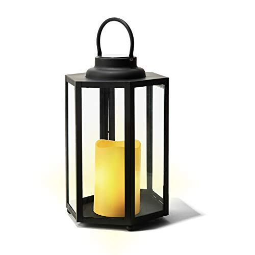 Large Solar Candle Lantern - 18 Inch Tall, Glass Panels, Matte Black Metal Frame, Waterproof Flameless Pillar Candle, Dusk to Dawn Timer, Large Size for Floor or Patio Decor, Battery Included