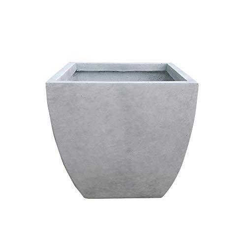 Kante RF0126B-C80021 Lightweight Modern Flared Square Planter, 15' x 15' x 15', Natural Concrete