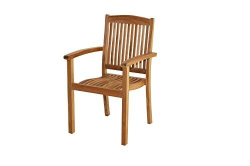 Ploß Ploß Stapelsessel Arlington - Premium Teakholz-Sessel mit FSC-Zertifikat - Terrassensessel stapelbar - Holz-Gartenstuhl ergonomisch - Gartensessel mit Armlehne - Garten-Möbel für Terrasse?