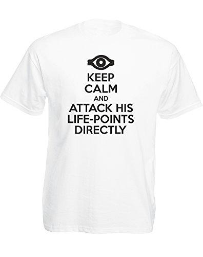 Keep Calm and Attack His Life-Points Directly, Imprimé des Hommes T-Shirt - Blanc/Noir M = 96-101 cm