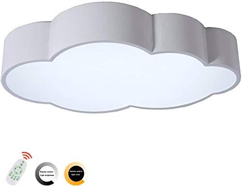 PElight plafondlamp, voor kinderen, creatief, cloud-vorm, dimbaar, LED, lampenkap van acryl, wit/50 cm (met afstandsbediening)