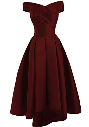 JAEDEN Prom Dresses Evening Gown High Low Off Shoulder Party Dress Formal Evening Gowns Pleat Burgundy (Apparel)