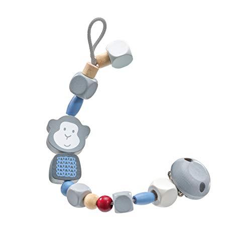 Selecta 64024 Äffchenglück, blau, Schnullerkette aus Holz, 21 cm, belleybutton