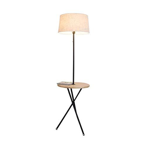 QTDH Staande vloerlamp met bijzettafel, Scandinavisch bijzettafeltje van hout, dimbaar, voor camera, hotel en Villa