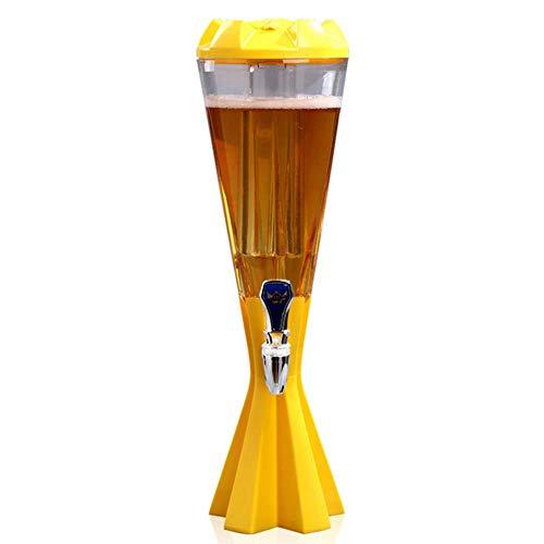 CASILE Torre de Cerveza Forma pentagonal Material ABS + Pet 1.5L Dispensador de Cerveza Refrigerante Adecuado Compatible con una Gran Variedad de Cervezas,Yellow,1.5L