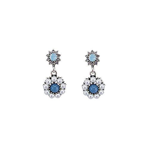 MXHJD Round Women Dangle Earrings Blue Crystal Pearl Flower Earrings Bohemian Fashion Earrings For Women Statement