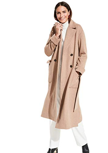 comma Damen Langer Mantel mit dezentem Fischgrätmuster Brushed rosA© 38