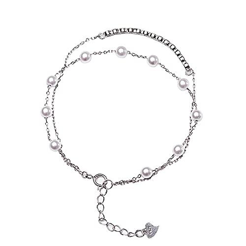 Pulsera para mujer S925 Pulsera de perlas de plata con personalidad Pulseras con dijes ajustables en capas Delicadas joyas personalizadas Regalo para mujeres, Plata